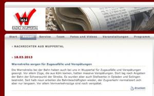 Bildschirmfoto von radiowuppertal.de